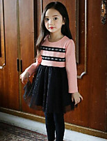 Girl's Casual/Daily Patchwork Dress,Cotton Spring / Fall Pink