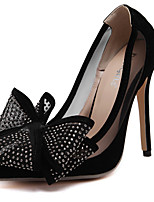Women's Heels Fall Heels / Pointed Toe Silk Casual Stiletto Heel Bowknot Black / Silver Others