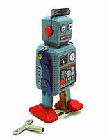 Educational Toy  Wind-up Toy Novelty Toy  Warrior  Robot Metal Blue For Kids