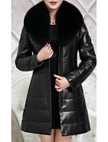 Women's Casual/Daily Simple Fur Coat,Solid Shirt Collar Long Sleeve Winter Black / Brown / Purple Polyester / Lambskin