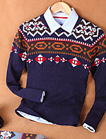 Men's Print Casual Pullover,Cotton Long Sleeve Blue / White / Gray