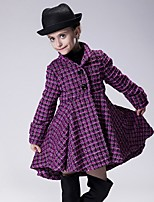 Girl's Casual/Daily Houndstooth Trench Coat,Cotton Winter / Fall Red