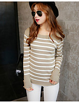 Women's Casual/Daily Simple Regular Pullover,Striped White / Beige / Black Round Neck Long Sleeve