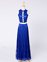 Formal Evening Dress Sheath / Column High Neck Ankle-length Lace with Lace