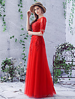Formal Evening Dress Sheath / Column Scoop Floor-length Lace / Tulle with Appliques / Lace / Sequins