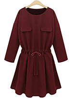 Women's Casual/Daily / Plus Size Simple Loose Dress,Solid Round Neck Above Knee Long Sleeve Red / Black Rayon Fall