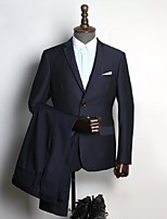 Suits Standard Fit Notch Single Breasted Two-buttons Wool & Polyester Blended Solid 2 Pieces Dark Blue Straight Flapped