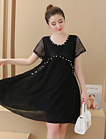 Maternity Casual/Daily Simple Loose Dress,Solid Round Neck Above Knee Short Sleeve Pink / White / Black Others Summer