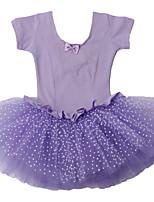 Cute Girls Princess Polka Dots Ballet Tutu Dresses with Short Sleeve, Cotton Unitards Purple/Pink Leotard Dancewear 3-8Y