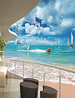 JAMMORY Wallpaper For Home Wall Covering Canvas Adhesive required Mural Sailing Seaside Scenery 3XL(14'7''*9'2'')