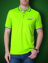 Men's Solid Casual T-Shirt,Polyester Short Sleeve-Black / Green / Orange / Purple / Red / White / Yellow