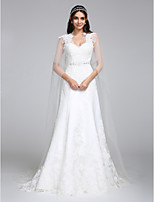 Lanting Bride A-line Wedding Dress Watteau Train Queen Anne Tulle with Appliques / Beading / Lace