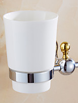 Bathroom Accessories, Contemporary Mirror Polished Finishing Solid  Brass Material Toothbrush Holder