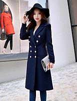 Women's Going out / Work / Holiday Vintage / Punk & Gothic / Sophisticated Trench Coat,Solid Notch Lapel Long Sleeve
