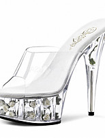 Women's Shoes PVC/Peep Toe/Slippers Heels Wedding/Party & Evening/Casual Stiletto Heel Crystal Heel/Sandals/Sandals