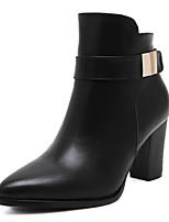 Women's Boots Fall / Winter Fashion Boots Leatherette Dress Chunky Heel Zipper Black Walking