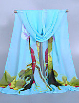 Women's Chiffon Lotus Print Scarf Orange/Blue/Fuchsia/Pink/Gray/Watermelon