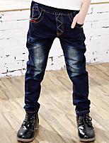 Boy's Cotton Spring/Autumn Fashion Solid Color Embroidered Jeans Elasticity Denim Pants