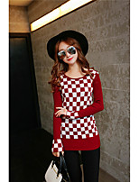 Women's Going out Simple Regular Pullover,Color Block Red / White / Black Round Neck Long Sleeve Cotton Fall Medium