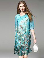 Angel Women's Going out Street chic Loose Dress,Print V Neck Knee-length ½ Length Sleeve Blue Silk Summer