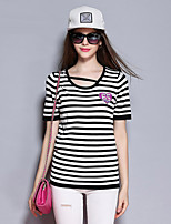 Sybel Women's Going out / Casual/Daily/ Cute Short Pullover,Check White Round Neck Short Sleeve Rayon Summer / Fall