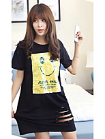 Women's Going out / Plus Size Cute T Shirt Dress,Print Round Neck Above Knee Short Sleeve Black Cotton Summer