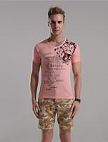 Herr D® Herren V-Ausschnitt Kurze Ärmel T-Shirt Blau / Rosa / Champagner-7