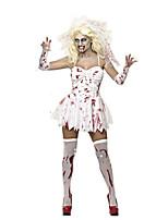 Costumes Zombie / Esprit Halloween / Carnaval / Fête d'Octobre Rouge / Blanc Vintage Térylène Robe / Gants / Coiffure