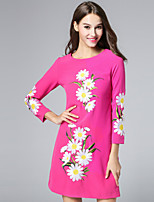 Boutique S Women's Casual/Daily Vintage Shift Dress,Embroidered Round Neck Above Knee Long Sleeve Polyester Fall