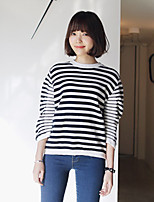 Women's Going out Simple RegularStriped White Round Neck Long Sleeve Cotton Fall Medium