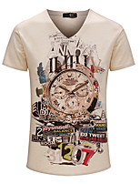 Men's Print Casual / Sport / Plus Sizes T-Shirt,Cotton Short Sleeve-Brown