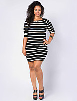 Women's Plus Size / Casual/Daily Sexy Bodycon Dress,Striped Round Neck Above Knee Long Sleeve Black Polyester Summer