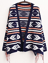 Women's Casual/Daily Vintage Tassels National Style Regular Cardigan,Geometric Blue / Gray Cowl Long Sleeve