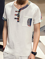 Men's Print / Patchwork Casual T-Shirt,Linen Short Sleeve-Black / Blue / Green / White / Gray