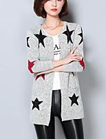 Damen Lang Strickjacke-Ausgehen Einfach Geometrisch Grau Asymmetrisch Langarm Baumwolle Herbst Mittel