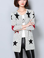 Women's Going out Simple Long Cardigan,Geometric Gray Asymmetrical Long Sleeve Cotton Fall Medium