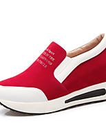Da donna-Sneakers-Tempo libero / Ufficio e lavoro / Formale-Comoda / A punta-Plateau-Felpato / Finta pelle-Nero / Rosso