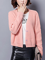 Women's Casual/Daily Simple Short Cardigan,Solid Pink / Beige / Gray V Neck Long Sleeve Cotton Fall Medium