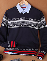 Men's Print Casual Pullover,Cotton Long Sleeve Blue / Brown / Red / Gray
