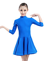 Children's Performance Chinlon Ruched Collar 1 Piece 3/4 Length Sleeve Natural Dress Latin Dance Dresses