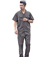 хлопок рабочая одежда для мужчин и женщин костюм короткие спецодежду производства завода (темно-серый с короткими рукавами продажа,