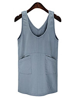 Women's Plus Size Vintage Shift Dress,Solid Strap Above Knee Sleeveless Blue Linen Summer