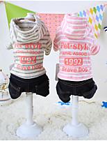 Cani T-shirt Rosa Abbigliamento per cani Inverno / Primavera/Autunno Righe / Lettere & Numeri Tenere al caldo / Casual Other