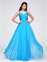 Formeller Abend Kleid Eng anliegend Riemchen Boden-Länge Chiffon mit Perlstickerei / Seitlich drapiert / Horizontal gerüscht