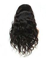 EVAWIGS 10-26 Inch Body wave Wigs 100% Human Hair Lace Front Wigs Natural Black Color 130% Density