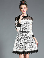 Plus Size Women Autumn SeeThrough Embroidered Lace Color Block Elegant Party Dress