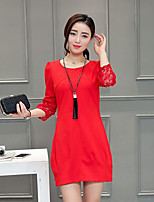 Women's  Casual/Daily Street chic Sheath Dress,Patchwork Round Neck Above Knee ¾ Sleeve Polyester Spring / Fall
