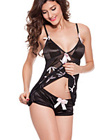 Women Chemises & Gowns / Lace Lingerie Nightwear,Sexy Solid-Thin Spandex Black Women's