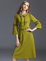 Viva Vena® Femme Col de Chemise Manches 3/4 Midi Robes-VA88246