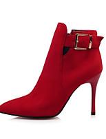 Women's  Fashion Boots / Pointed Toe Velvet Office & Career / Dress / Casual Stiletto Heel Buckle / Zipper